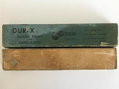 Vintage Blue Depression DUR-X Glass Fruit & Cake Knife In Original Box