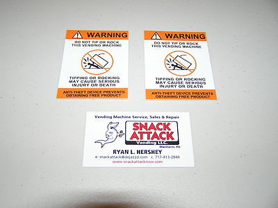 Soda Vending Machine 2decals Warning Do Not Tip Or Rock This Vending Machine
