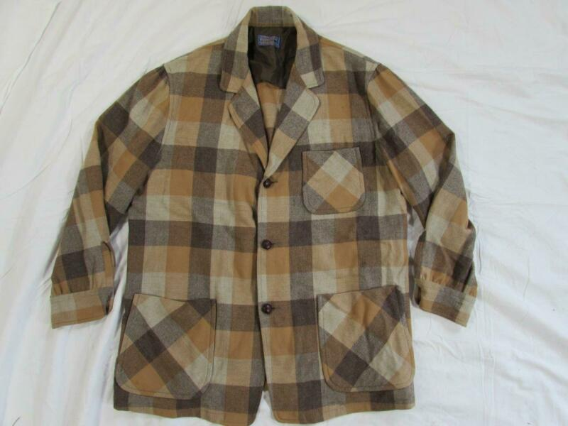 Vtg 50s Pendleton Plaid Patchwork Wool 49er Hollywood Jacket Blazer Sz L Mod 60s