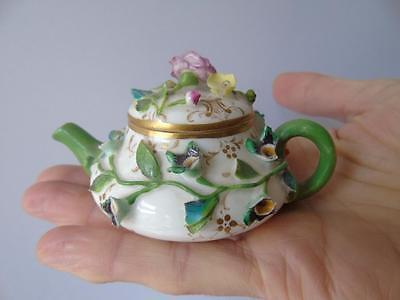 Rare Antique Meissen Floral Encrusted Miniature Child Doll House Teapot & Cover