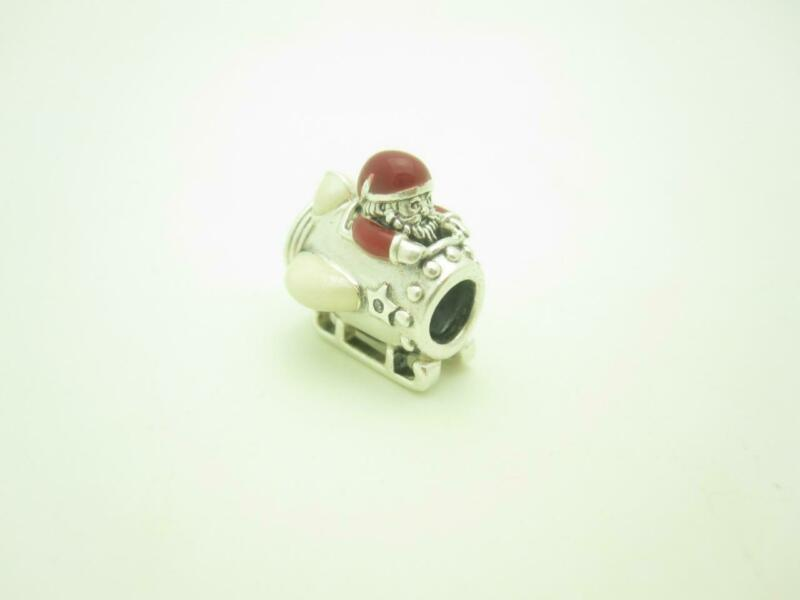 Pandora Sterling Silver Red Enamel Santa In Space Christmas Holiday Charm