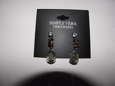 Vera Wang SIMPLY VERA 3 Stone Crystal Dangle Pierced Earrings NEW!