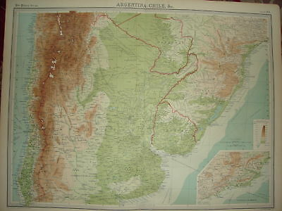 1920 LARGE MAP ~ ARGENTINA CHILI etc ~ 23 INCHES x 18