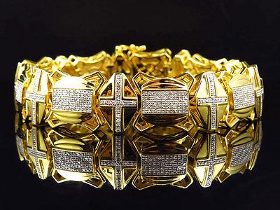 Diamond Cross Link Bracelet - Mens Genuine Diamond Cross Style Link Bracelet In Yellow Gold Finish 3.5Ct