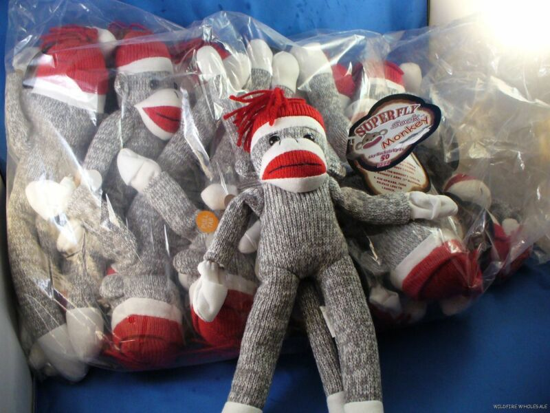 WHOLESALE LOT OF 6 SUPERFLY SOCK MONKEY FLYING DOLLS screaming sounds plush grey
