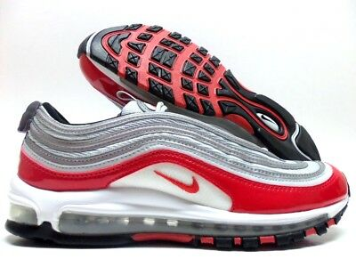 Nike Air Max 97 Pure PlatinumUniversity Red White Men's and Women's Size 921826 009