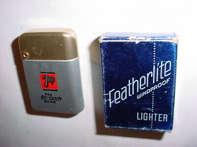 Vintage 7 Up advertising Soda Pop Can flip top Lighter Featherlite UNUSED in box