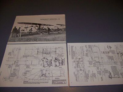 VINTAGE..1903 WRIGHT FLYER MODEL A/B..,.3-VIEWS/STRUCTURE/ENGINE....RARE! (855P) for sale  Columbus