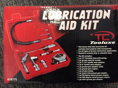 Grease Gun Lubrication Aid Kit | Zerk Fittings Lube Attachments Needle Flex Hose