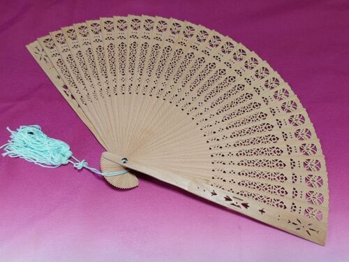 Japanese Sandalwood Folding fan Sensu Openwork carving 200mm