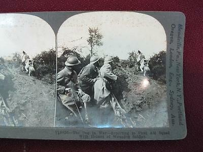 Stereoview Keystone View Co. The Dog In War Reporting To First Aid Squad WWI (O)