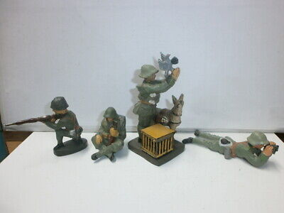 Convolute 4 Old Hausser Elastolin Ground Soldiers Signalman With Pigeon 7.5cm
