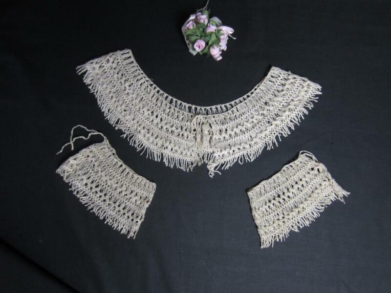 *Antique Victorian Edwardian Crochet Lace Collar, Cuffs Crinkle Rayon, Fringe