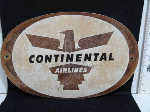 VINTAGE CONTINENTAL AIRLINES PAINTED METAL OVAL SIGNS