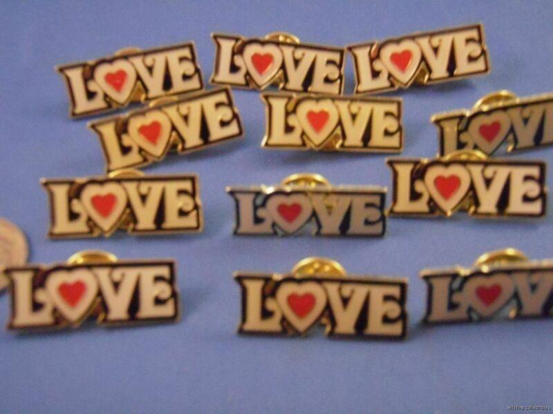 WHOLESALE LOT OF LOVE LAPEL PINS hippie 60s 70s HEART 60s style hippie mod gold