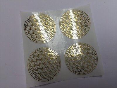 Blume des Lebens - Silber Metallic Label/Aufkleber 3 cm/40er Set
