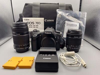 CANON EOS 70D DIGITAL CAMERA/ EFS 18-55 MM EFS 55-250 MM LENS