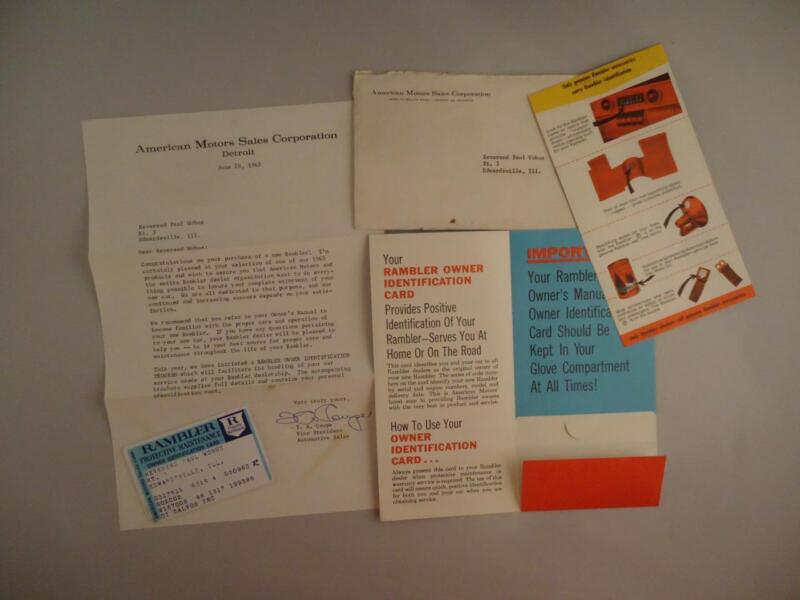 1963 AMC Rambler Owner Identification Card Protective Maintenace Letter Signed