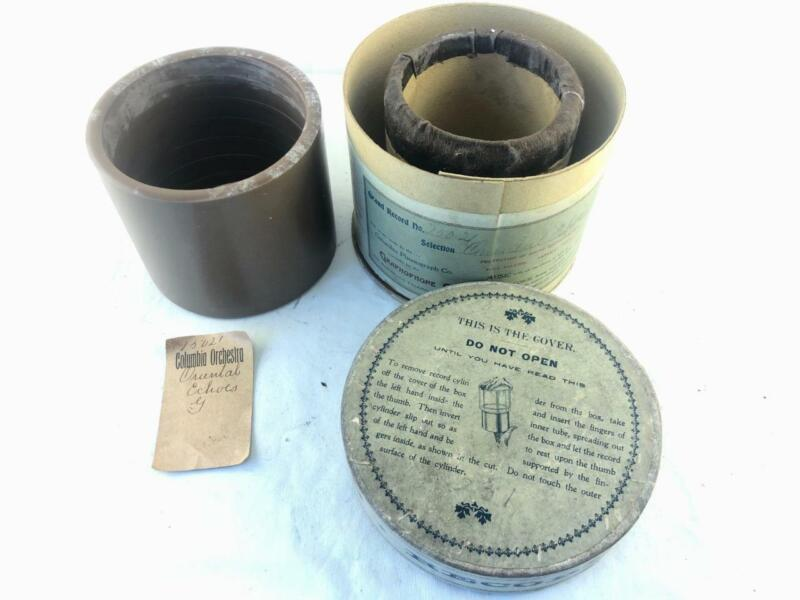 """Antique 5"""" Brown Wax Columbia Grand Cylinder Record 13021 Matching Box & Slip"""