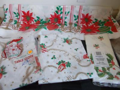 lot of 4 vintage PAPER & PLASTIC Christmas TABLE CLOTHS Candles Holly Ornaments