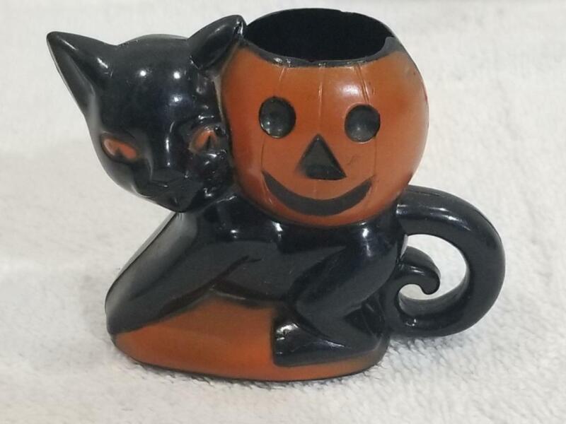 Vintage Rosbro Halloween Hard Plastic Black Cat / Pumpkin Candy Container