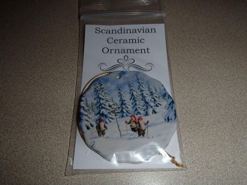 Scandinavian Swedish Christmas Ceramic Ornament Bergerlind Tomtar Skiers #539