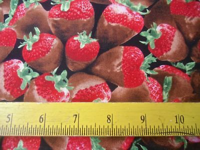 Timeless Treasures Fabric Chocolate Covered Strawberries 4 Tablecloths Quilts