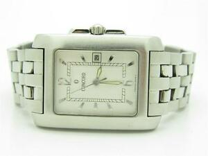 PRE-OWNED-CONCORD-SPORTIVO-STAINLESS-STEEL-SWISS-RECTANGULAR-WATCH-NEW-BATTERY