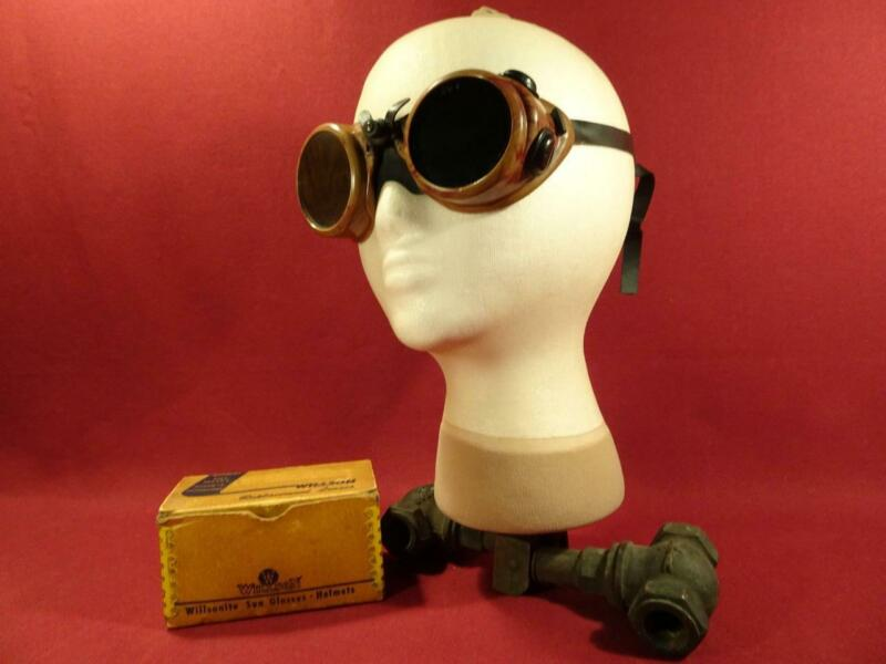 VINTAGE ANTIQUE WILLSON GOGGLES STEAMPUNK MOTORCYCLE SAFETY GLASSES GREEN LENS