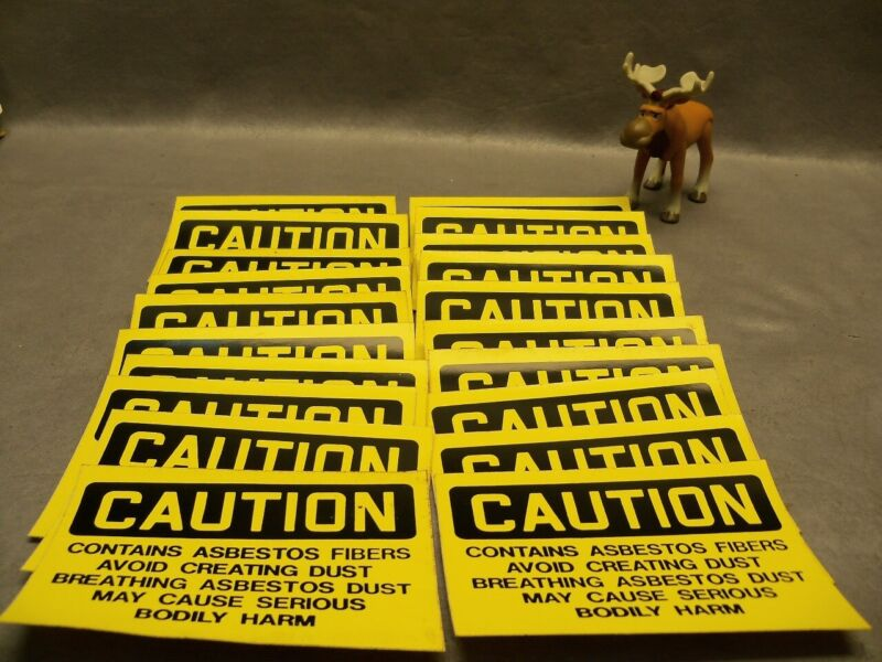 Caution Contains Asbestos Fibers Avoid Creating Dust Sticker Lot of 20
