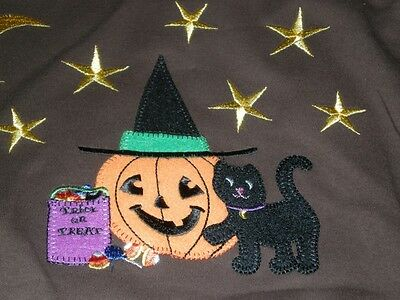 NEW HAPPY HALLOWEEN BLACK CATS PUMKINS SHIRT TOP BROWN 2X TRICK or TREAT