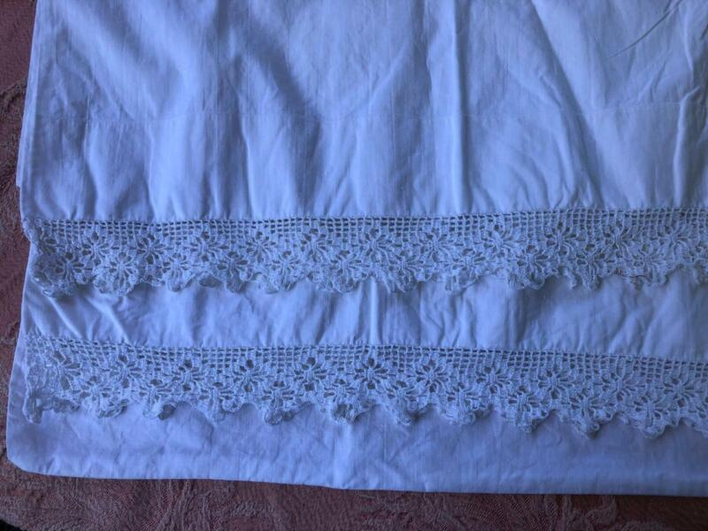 ANTIQUE PAIR White French Laundry PILLOW SHAMS 100% Linen Crochet  20X32""