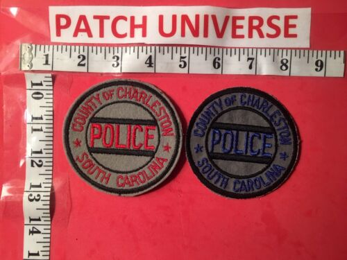 VINTAGE LOT OF TWO DIFF COUNTY OF CHARLESTON SC POLICE  SHOULDER PATCHES   S035