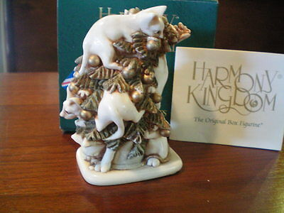 Harmony Kingdom FurFest Cats Christmas Tree UK Made Marble Resin Box Figurine