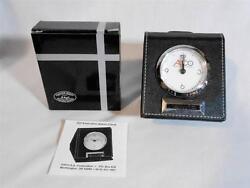 Top Executive Analog Battery Travel Alarm Clock In Black Leather Case La Buyere