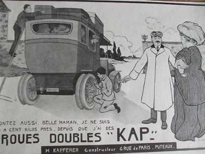 ORIGINAL ADVERT early 1900s DOUBLE WHEELED CAR by Bertrand - M Kapferer PARIS