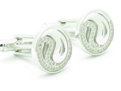 Platinum Sterling Silver White Sapphire Micro Pave Halo Design Cufflinks Gift  ()
