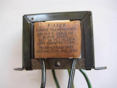 Triad Filament Transformer F-112x Secondary 14 Vac Ct .25 Amp Primary 115v Nos