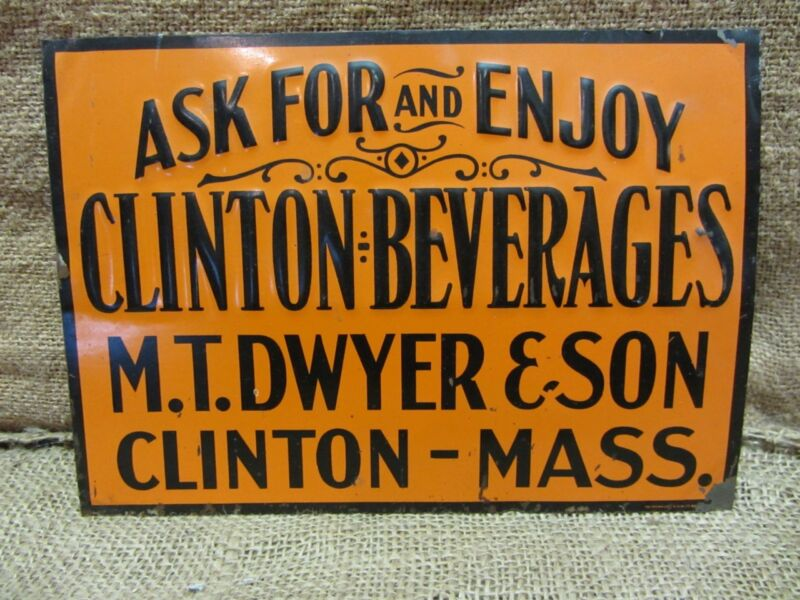 Vintage Embossed Clinton Beverages Sign > Antique Old Signs Soda Drink RARE 6940