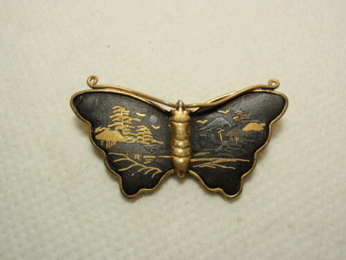 Vtg Black Gold Etched Asian Japanese Design Damascene Butterfly Pin Brooch