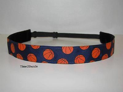 Navy Blue Basketball Headband adjustable no slip Sweaty Sports Hair Bands