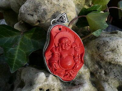 Roter Zinnober, Cinnabar, Buddha Amulett, groß, traditionelle Handarbeit, super