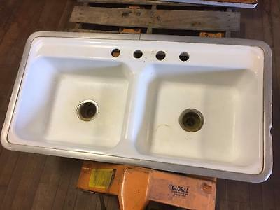 "Vintage Double Compartment Porcelain Cast Iron Farm House Kitchen Sink 42""L 22""W"