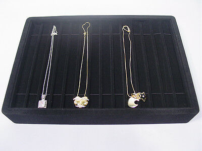 13l X 9w Black Velvet Bracelet Necklace Watch Chain Display Tray Case Pt4-14b1
