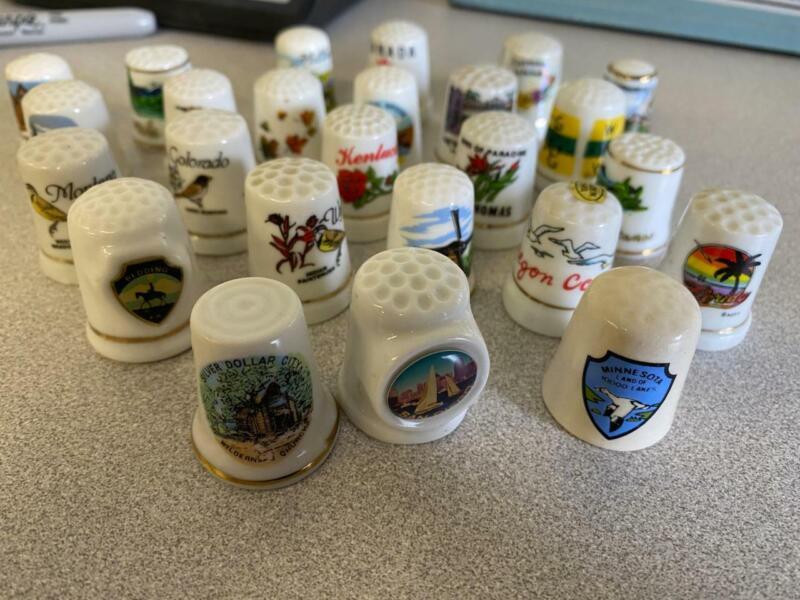 Lot of 25 Porcelain Destination Thimbles