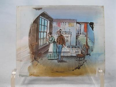 Magic Lantern Glass Slide Colonial Man & Woman Holding Rings Or Candy (O) AS IS - Lantern Ring Colors