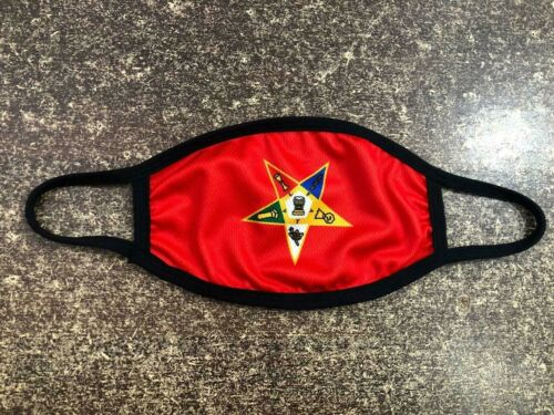 MASONIC OES RED FACE MASK, ORDER OF EASTERN STAR FACE MASK