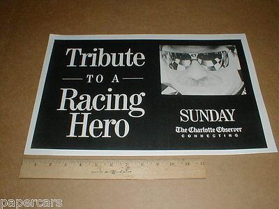 Dale Earnhardt Sr 2001 Charlotte Observer Newspaper Poster Display Original Rare