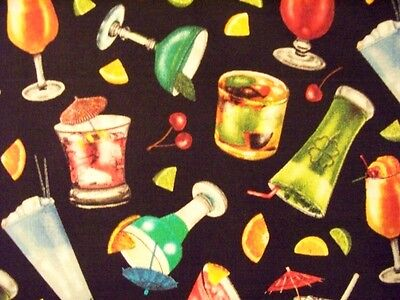 COCKTAILS MARTINI GLASSES FRUIT BLACK COTTON FABRIC BTHY](Black Martini Glasses)