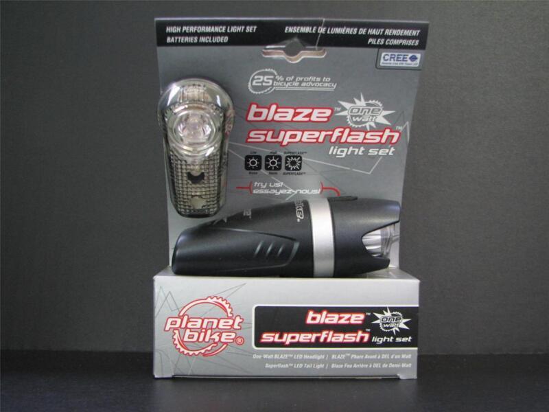 Planet Bike Blaze One Watt SuperFlash Bicycle Headlight Taillight CREE